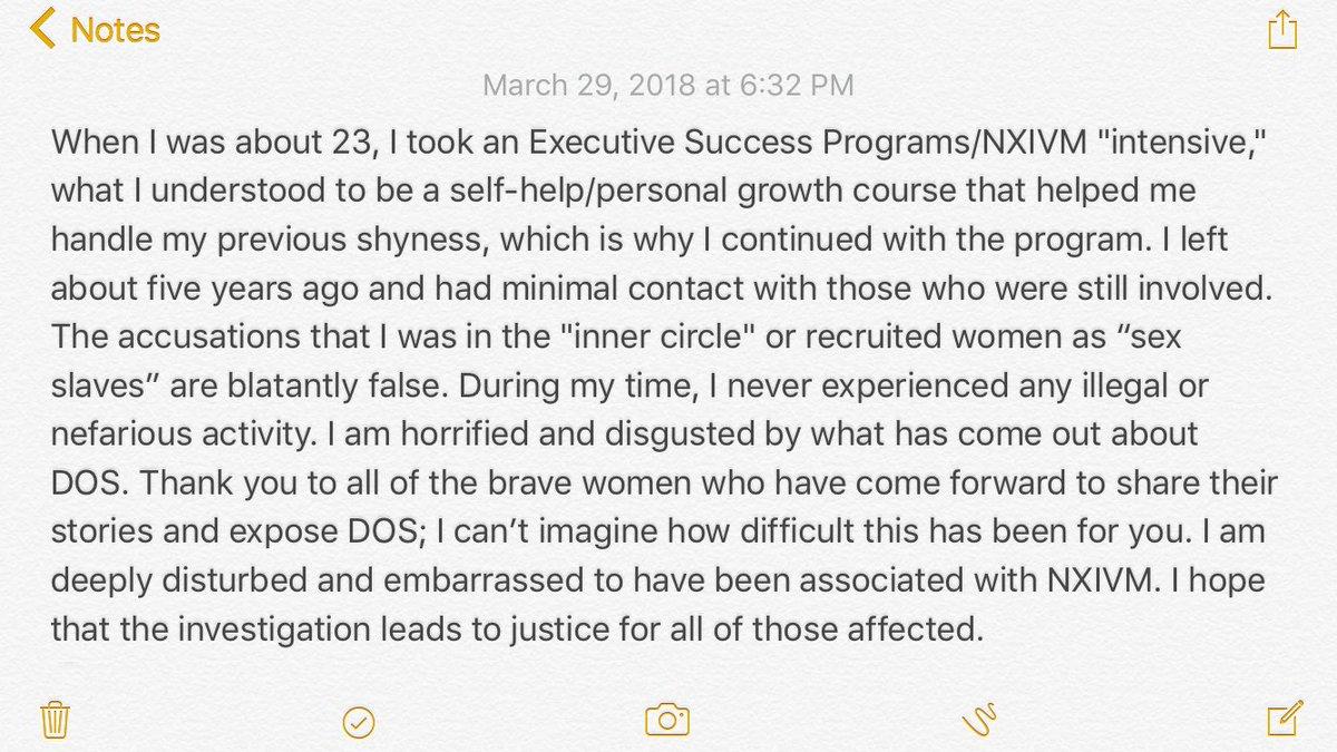 Declaración de Kristin Kreuk sobre NXIVM